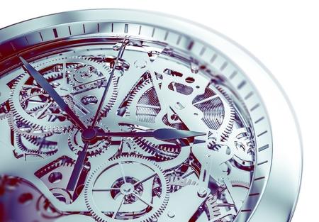 Mécanisme de montre à main élégant et compliqué 3D Illustration.