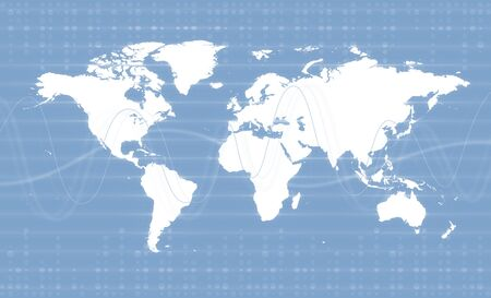 Digital World Map Business Background Theme. Light blue colors. Stock Photo