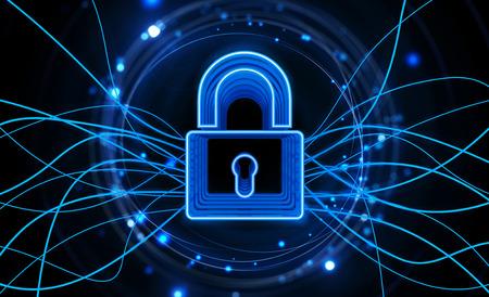 Internet lock. Internet security concept. Dark blue background. Stock Photo