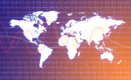 Digital World Map Graphic. Blue and Orange colors.