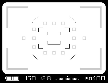Camera viewfinder with exposure settings. Isolated on white. Stock Photo