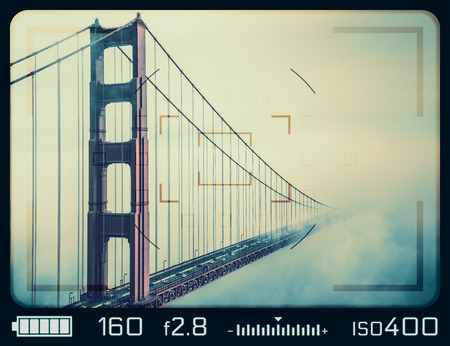 Golden Gate Bridge seen through camera viewfinder. San Francisco, California.