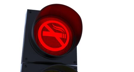 exclude: No Smoking Traffic Light Sign Concept on white background Stock Photo