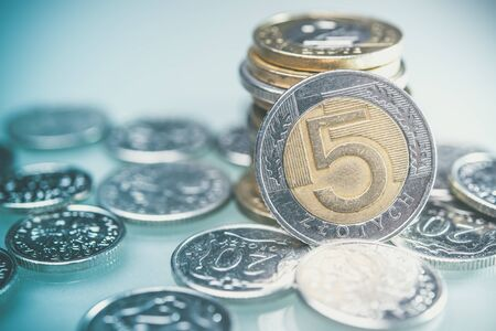 earn money: Polish Currency Coins on desk. Five Zloty Coins Closeup Photo. Stock Photo