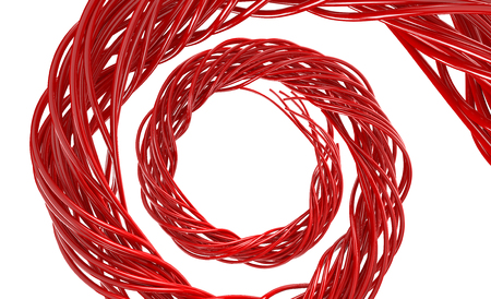 wire: Twisted Red Cables on white background.