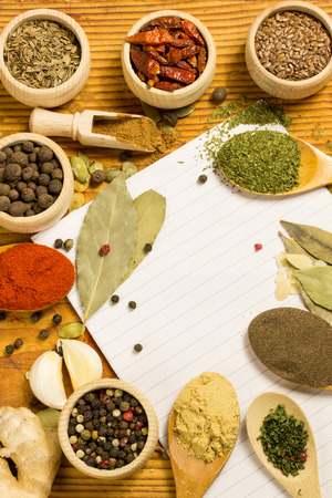 Spices and herbs in wooden bowls and spoons. Food and cuisine ingredients.