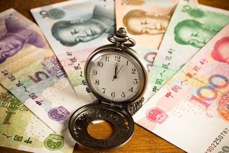 dues: Set of chinese currency money yuan renminbi. Close-up Stock Photo