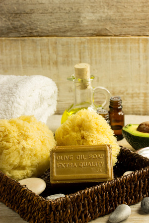 consept: Essential oil, olive oil soap, wellness consept Stock Photo
