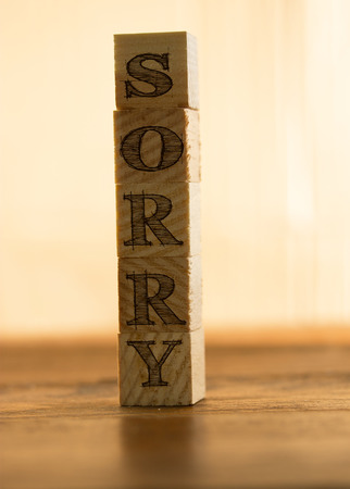 sorry: wooden cubes with the text sorry