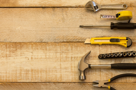 'advertising space': A variety of tools on wood. Advertising space Stock Photo