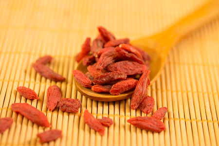 backgraound: goji berries on a wooden spoon over a bamboo backgraound