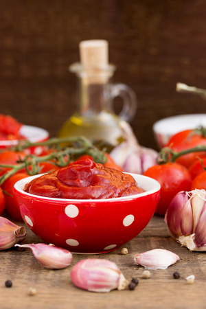 tomato sauce in a cute red white spoted bowl