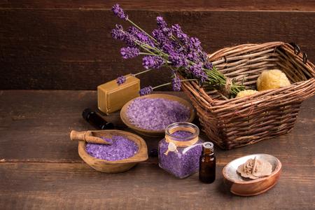 lavender coloured: lavender bath salt, oil and lavender flower