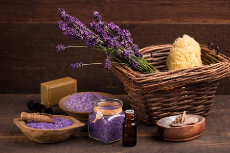 bathsalt: lavender flower with salts and oil