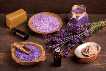 bathsalt: lavender flower with bathsalts and essence