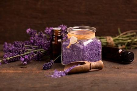 lavender oil and bathsalts with lavender flower