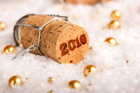 champagne cork: New Year concept with champagne cork 2016
