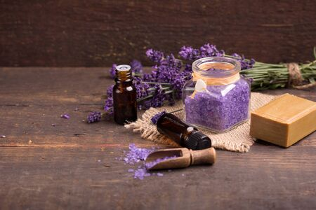 lavender bath salt, essence with fresh lavender flower