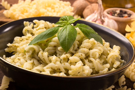 plato del buen comer: close-up of italian fusilli pasta with homemade pesto sauce