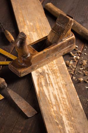 planer: Wood planer and shavings at carpenters workshop