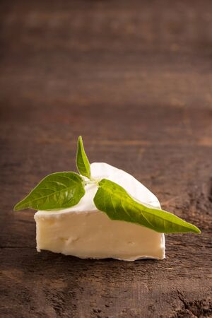 penicillium: camembert cheese on dark wooden table