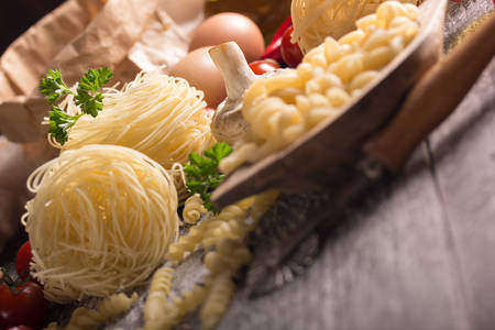 unboiled: nest pasta and fussilli with herbs and vegetables