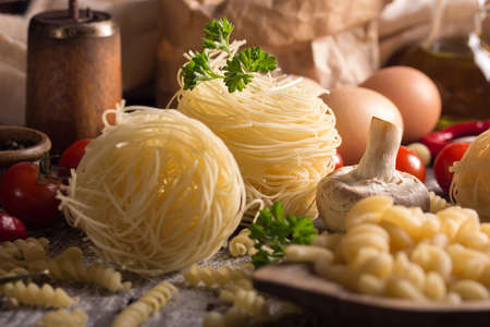 unboiled: nest pasta and fussilli Stock Photo
