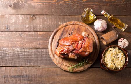 pork: pork shank with sauer kraut Stock Photo
