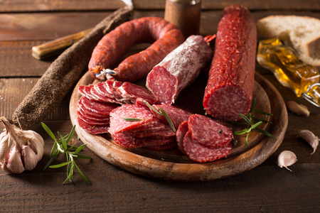 assortment: Assortment of smoked sausages