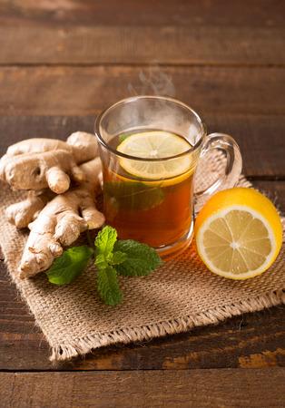 hot ginger tea with lemon and mint Standard-Bild