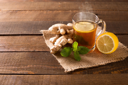 ginger tea with lemon and mint