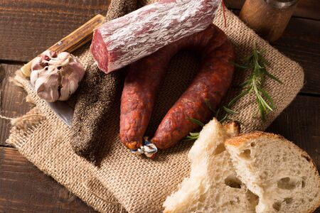 porc: various sausages on a canvas in rustic style Stock Photo