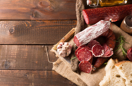 air dried salami: various sausages with free space for text