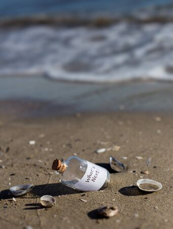 message in a bottle: whats next message in a bottle Stock Photo