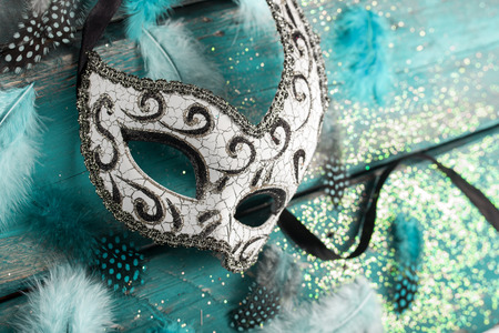 new ball: female carnival mask with glittering background Stock Photo