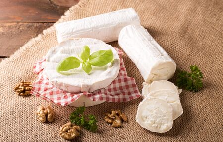 goat: Fresh goat cheese and camembert in rustic style
