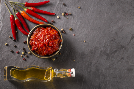 chili sauce on a stoneboard