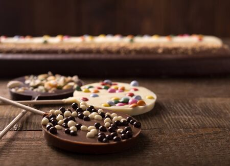 childrens birthday party: sweets on a wooden table for childrens day