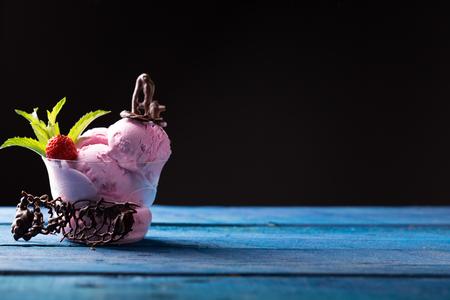 epicure: homemade strawberry icecream with chocolate  Stock Photo