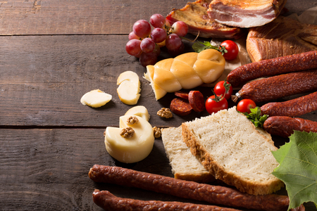 redwine: still life with sausage, cheese and redwine  Stock Photo