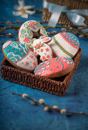 beautiful decorated gingerbread cookies for easter  Stock Photo