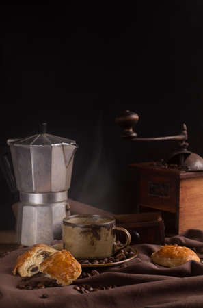 morning coffee in vintage style Standard-Bild