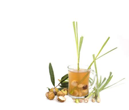longan and lemongrass ice tea isolated on white background