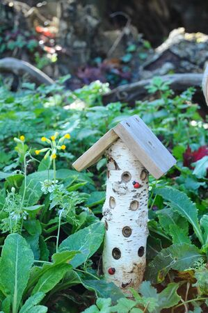 A natural log house for ladybirds and insects in a graden Stock Photo