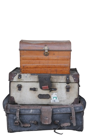 Luggage pile (isolated) Stock Photo
