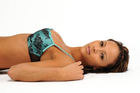 A sexy young woman led in a blue liingerie