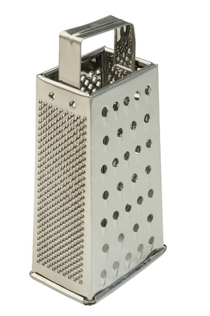 A stainless steel cheese grater isolated on a pure white background Stock Photo