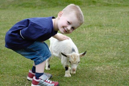 A cute young boy stroking a cute young pygmy goat photo