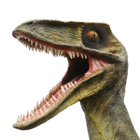 Model of a big dinosaur monster with a big mouth and lots of sharp teeth Stock Photo