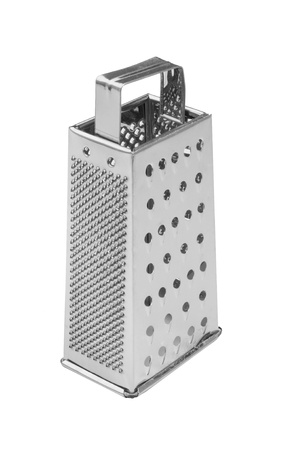 A Stainless Steel Grater isolated against a pure white background